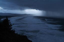 Oregon coast, pounded by weather.