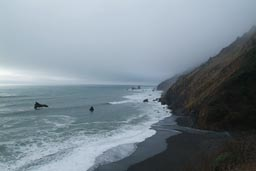 Foggy, cloudy, California coast.