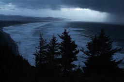 Manzanita Bay, wave of rain clouds moves in.