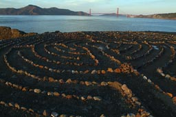 Circles of pebbles and Golden Gate Bridge.