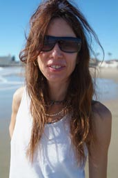 On Santa Cruz beach, Christina.