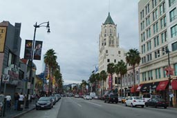 Hollywood Boulevard, cloudy day.