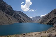 Laguna de Inca, black Andean mountains, behind Portillo hotel, in Chile.