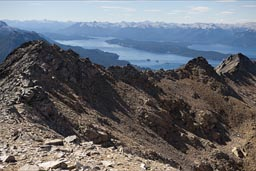 Mountain ridge of Cerro Lopez, up on 2000m, Lago Nahuel Huapi behind on 800m, Patagonian Andes, Rio Negro province, Argentina,