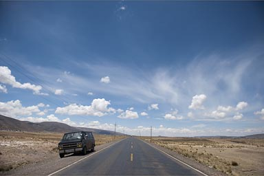 Blue skies on the road, Puno to Bolivia.