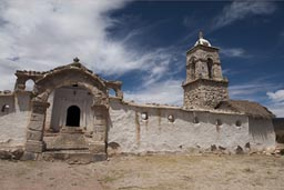 Near Sajama, white church in Tonarapi, Bolivia.