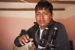 It is custom to serve two bottles, or make them as a present. Coipasa, fiesta de promocion 2012, Bolivia.