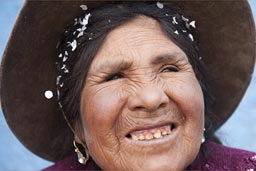 Aymara woman and hat, Coipasa, Bolivia.