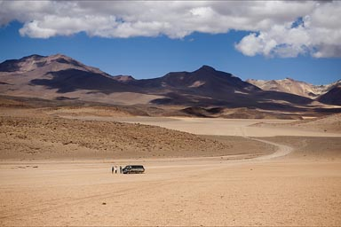 The van and friends in the wide, Bolivia.