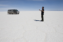 On Uyuni salt flats, Bolivia, me and Chevy van.