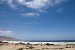 White sandy beaches, Pan de Azucar, Chile.