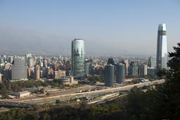 View from hill, Santiago de Chile, with tallest office building in South America Gran Torre Costanera.