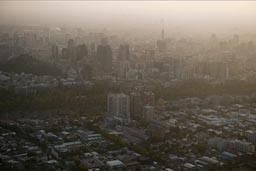 Evening haze and smog over Santiago de Chile.