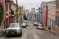 Steep street in Valparaiso.