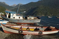 Colorful boats in Cochamo.
