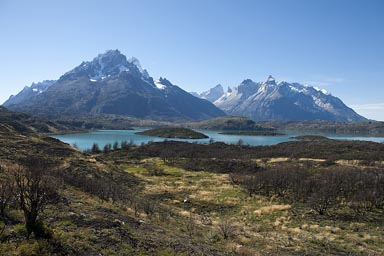 Torres del Paine massif, Lago Pehoe, approaching from south over Patagonian steppe.