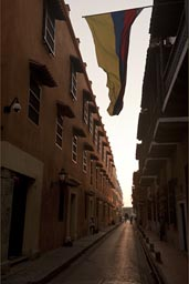 Cartagena street, Colombian flag.