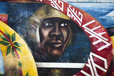 Detail of a mural in Riohacha, Colombia.