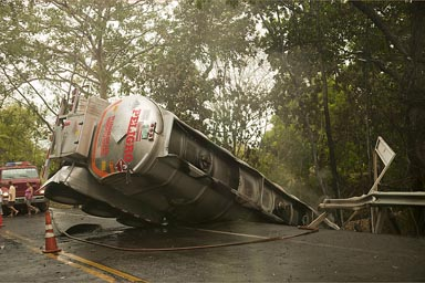 Tanker accident.