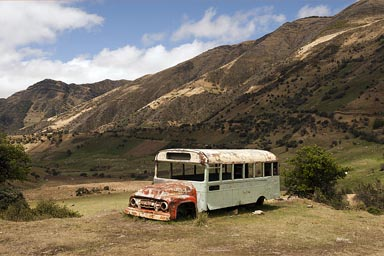 High up in the Andes, a bus that did not make it, Colombia.