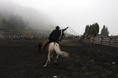 Poncho, lasso, horse, fog over Salinas rodeo ground, Horses and bulls fiesta. Ecuador, Andes.