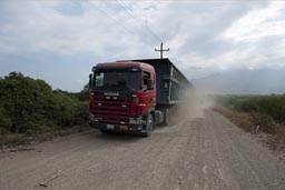 Sugar cane truck on dirt track, Northern Peru.
