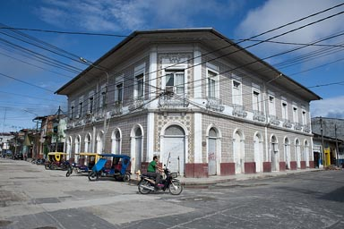 Corner house in architecture of the caoutchouc boom, Iquitos, Peru.