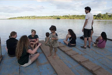 Gathering on bow of ship. Kristina, Brigitta, Jana, Daniel and David, Leandro and others. Maranon River journey.