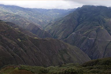 On the other side of the valley, the road that we came. view from Kuelap castle, Peru.