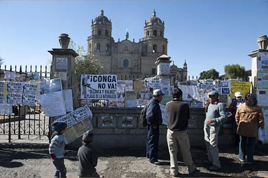 People discuss in Cajamarca in front of San Francisco church and gate, Conga mine protests, Conga no va!