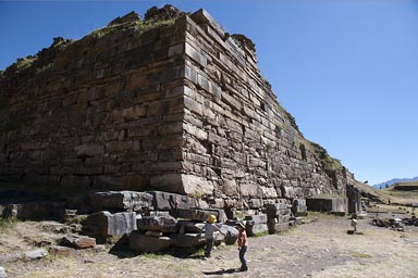 Chavin de Huantar, old temple stone walls, archaeological site, 3,000 years old. Peru, Cordillera Blanca.