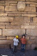 On wall of old temple, Tenon Head. My boys, Peru.
