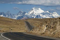The road and Cordillera Blanca, Peru on 4,000m.