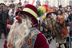 Clowns, costumes, Independence day in Lima.