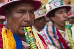 Flutes from Puno, Lima Independence Day in Peru.