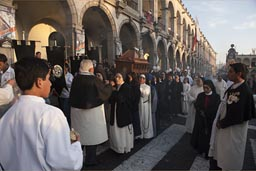 Church procession and coffin and nuns and priests, Arequipa, plaza de armas.