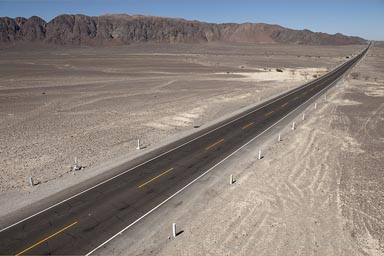 Southern Peruvian desert road, where the famous Nazca lines are.