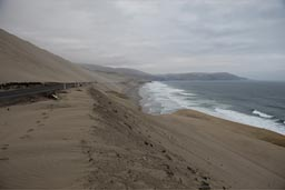 Peru's coastal dunes and the panamericana leads through it.