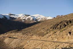Andes in Peru, snow capped peaks, on road Arequipa to Chivay.