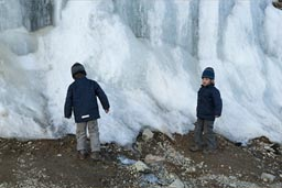 The boys near 4,600m touch ice, road Arequipa to Chivay, Peru.