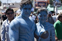 Arequipa Day, bodies painted blue, man and woman.