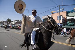 Rider pulls his sombrero hat on Arequipa Day, Peru.