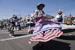 Bolleras, eleborately decorated folkloric Andino dresses, Arequipa Day, Peru.
