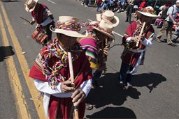 Folkloric Andino flutes and drums, plenty, Arequipa Day, P{eru.