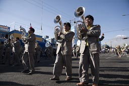 Lots of brass on Arequipa Day parade.