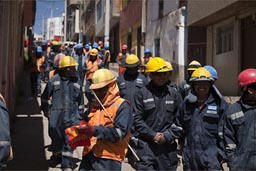 In Puno, miners go on strike over pay and benefits, Peru.