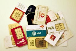 Telephone sim cards.