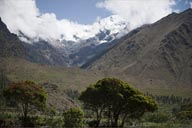 Snowy mountains when riding out from Aguas Calientes to Ollantaytambo.