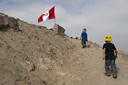 And there is a Peruvian flag, mirador to overlook the Caral archaeological site, Peru.