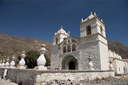 Stone church, white wash, Maca in Colca Valley, Peru.